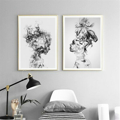 Modern Canvas Painting Print Abstract Black White Woman Picture Home Wall Decor