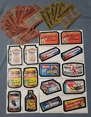 Original 1974 Wacky Packages 9th 10th Series Sticker & Checklist Lot