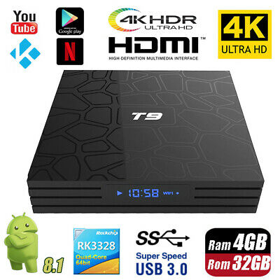 Bluetooth T9 Android 8.1 Smart TV Box Rockchip 4GB 32GB 4K Media Player K17.6