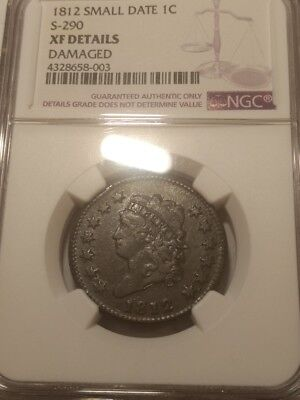 1812 Classic Head U.S. large cent. NGC XF details - damaged. S-290 small date.