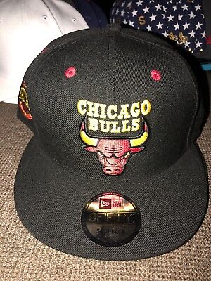 617592b00fb570 NWT Adult New Era NBA Chicago Bulls Black Red Yellow Jordan SNAPBACK Hat  30