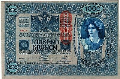 """Two Hungarian 1000 Kronen Banknotes 1902 - Beautiful Large Banknote 5"""" x 7.5"""""""