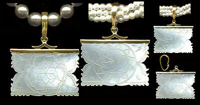 14k Hvy.REMOVABLE BALE PENDANT Lg. X'd DOLPHINS CHINESE Mother oPearl GAME CHIP
