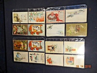 Nice Lot of 32 Vintage Antique  Christmas Post Cards Postcards
