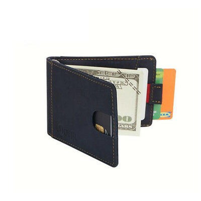 RFID Blocking Bifold Slim Wallet Cow Leather Front ID Pocket Men Card Money Clip