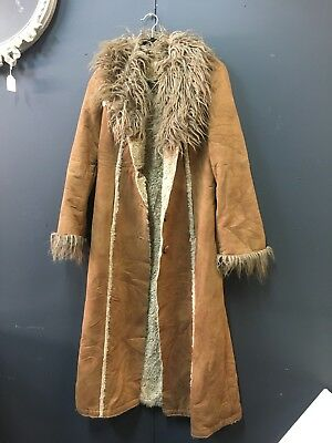 Vintage Miss Sixty Full Length Faux Suede Fur Trim Afghan Coat SzM Boho Hippy