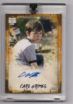 Walking Dead Autograph Collection Chandler Riggs/carl #/50 Hard To Get Item!