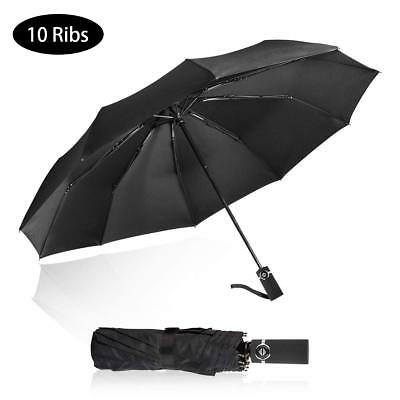 Auto Folding Travel Umbrella Large Compact Windproof Rain Umbrella Sturdy Dome