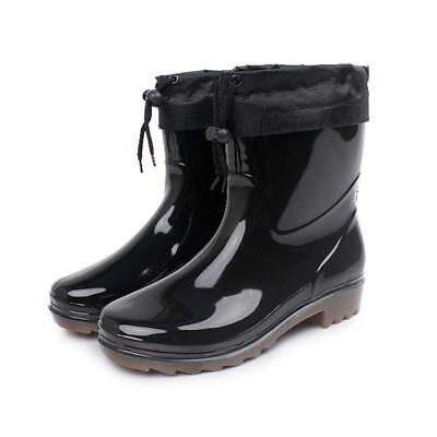 Mens warm lined Waterproof Rain Short Boots Snow Rubber outdoor Antislip Shoes