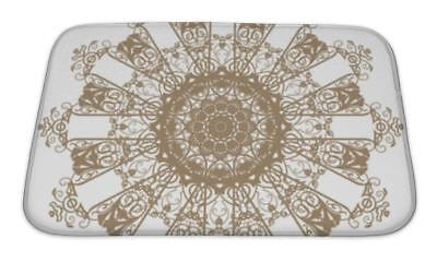 Bath Mat, Decorative Gold And Frame With Vintage Patterns
