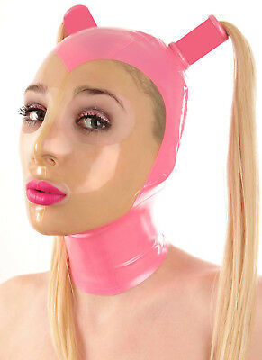 Sexy Latex Mask Rubber Hood Gummi 0.4mm with Tails for Catsuit Unisex Party Wear