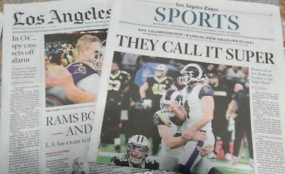 Los Angeles Times January 21, 2019 LA RAMS advance to the SUPER BOWL newspaper