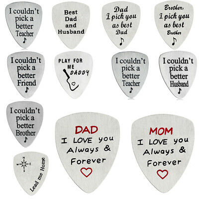 Stainless Steel Engraved Guitar Pick Plectrum GUITARIST BIRTHDAY GIFT Family