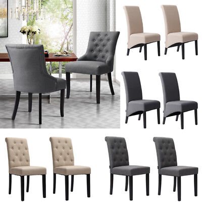 Fine 2X Tufted Scroll High Backrest Dining Chairs Wooden Leg Gmtry Best Dining Table And Chair Ideas Images Gmtryco