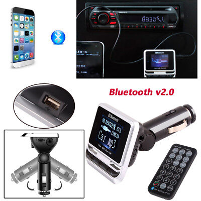 Handfree Wireless Bluetooth Car FM Transmitter LCD MP3 Player USB Charger DC 12V