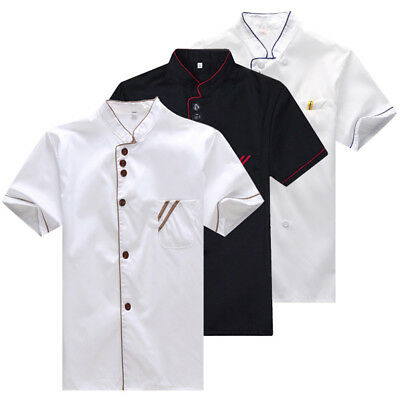 Kitchen Chef Jacket Coat Restaurant Catering Cooker Uniform Short Sleeve M-3XL
