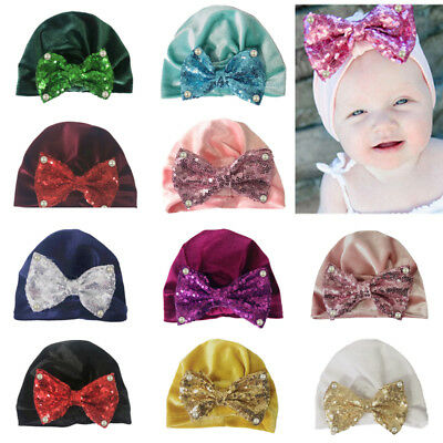 Baby Toddler Girl Boy Cute Shiny Sequin Bowknot Turban Hat Stretchy Beanie Cap A