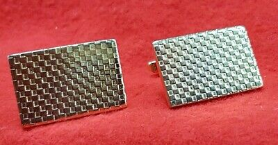 Vintage Cuff Links Gold Tone Metal Pattern On Front