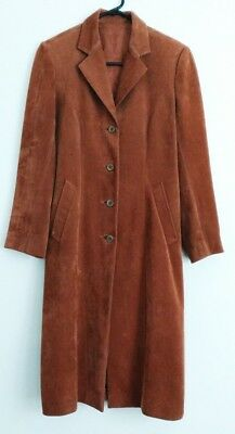 Vintage Caramel Brown Smooth Suede Long Winter Jacket Sz Small 10