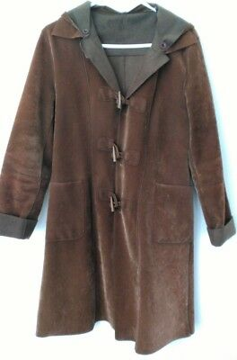 Vintage Tan Brown Suede Long Duffle Style Coat Jacket Sz S 10