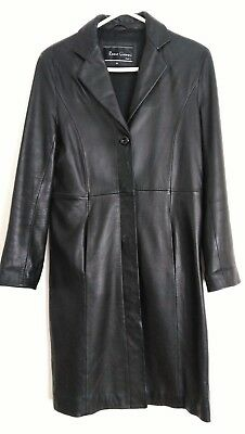 Vintage Remo Gianni Italia Classic Long Black Leather Jacket Sz M 10