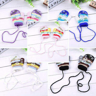 new Cool new Winter Kids Children Warm Lanyard Gloves Whole Covered Knit Snowfla