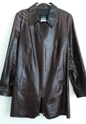 Vintage Italian Over And Jacket Technique Thick Brown Leather Long Jacket Sz 8