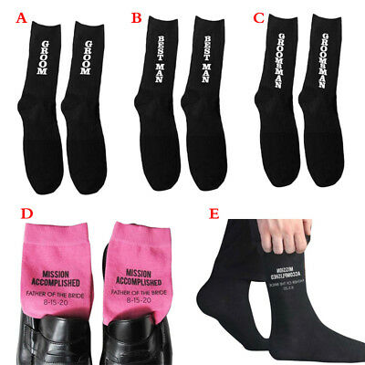 Men Wedding Party Black Midi Socks Letter Print For Groom Best Man Groomsman