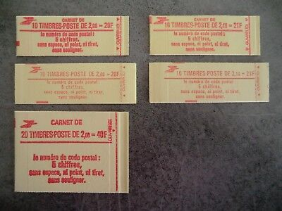 1 Lot De 5 Carnets Timbres France Neuf 1983/1984
