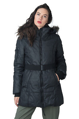 WALTER BAKER NEW YORK Quilted Coat Size S Padded Belted Detachable Hood RRP €390