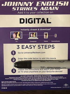 Johnny English Strikes Again Digital Code! NO Blu-ray Or DVD Canada Copy *READ*