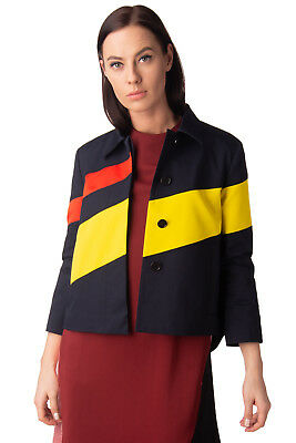 JIL SANDER NAVY Jacket Size IT 36 / XXS Colour Block Made in Italy RRP €685