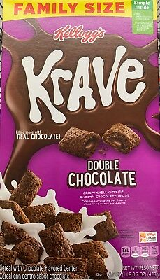 New Kelloggs Family Size Krave Double Chocolate Cereal 16.7Oz Box More Chocolate
