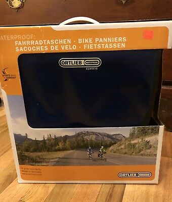Ortlieb Back-Roller Classic Bicycle Panniers, Pair, Blue/Black, New in Box