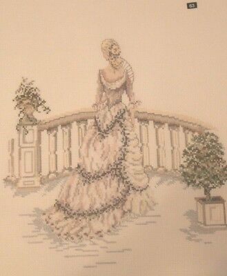 Completed cross stitch picture vintage lady on balcony beautifully sewn