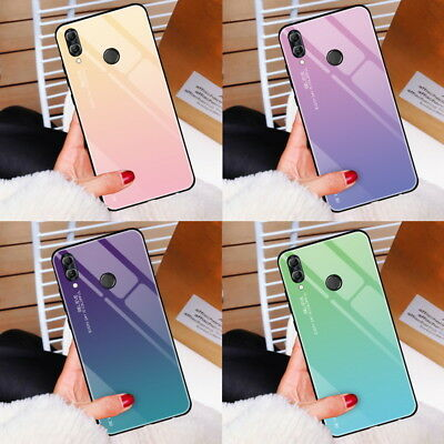 For Huawei Honor 10 Lite 8X V20 P20 Gradient Tempered GLASS BACK Slim Case Cover