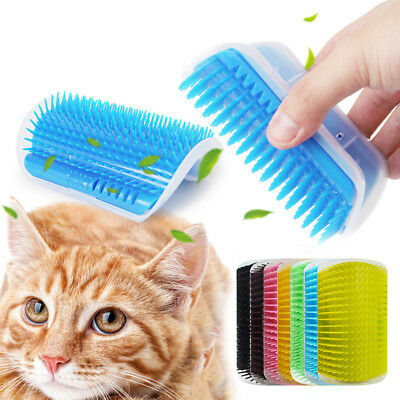 Cat Pet Self Groomer Brush Wall Corner Grooming Hair Comb Massage Tool Toy IDD