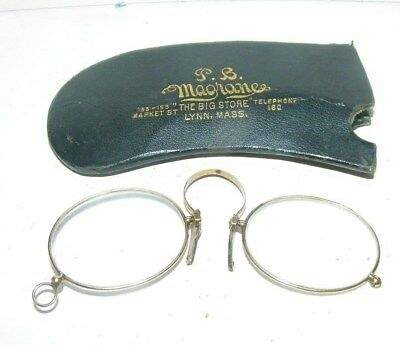 antique pair of eye glasses-nose type-case-P.Maghanes Lynn,Mass