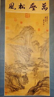 Antique Chinese ink on paper painting scroll fine painted landscape