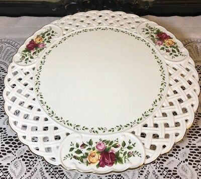 """Old Country Roses Royal Albert Pierced Cake Plate Stand 12 1/4"""""""