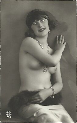 Rare original old French real photo postcard Art Deco nude study 1920s RPPC #382