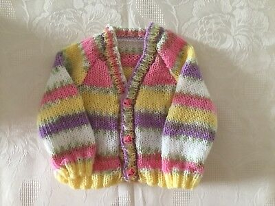 """New Hand Knitted Baby Girls Cardigan Pink And Yellow Mix Yarn 3 Months 20""""Chest"""