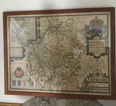 Antique 17th Century Map of Westmorland and KENDALE John Speed
