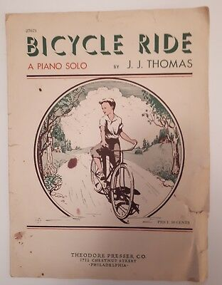"Very Rare American ""bicycle Ride"" Sheet Music Some Damage (Philadelphia)"