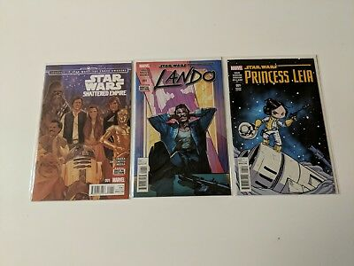 Star wars comic lot, Shattered Empire#1, Lando#1, and variant cover Princess#1
