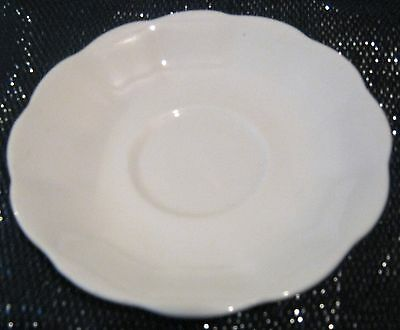 3x lovely off-white china saucers unmarked approx 5½ ins diameter