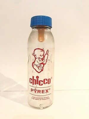 Vintage chicco glass baby bottle, artsana old stock, pyrex feeding bottle