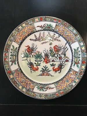 Paire D'assiette En Porcelaine De Chine Decor Coq Signe
