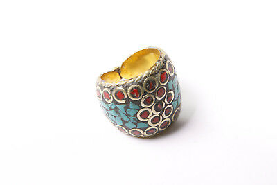Beautiful Women Bohemian Antique Gold Ring with Multicolored Mosaic Print (T334)