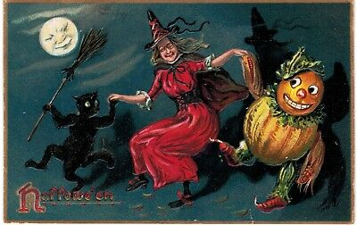 Halloween Tuck's 150 Dancing Red Witch With Glasses Cat JOL 1908
